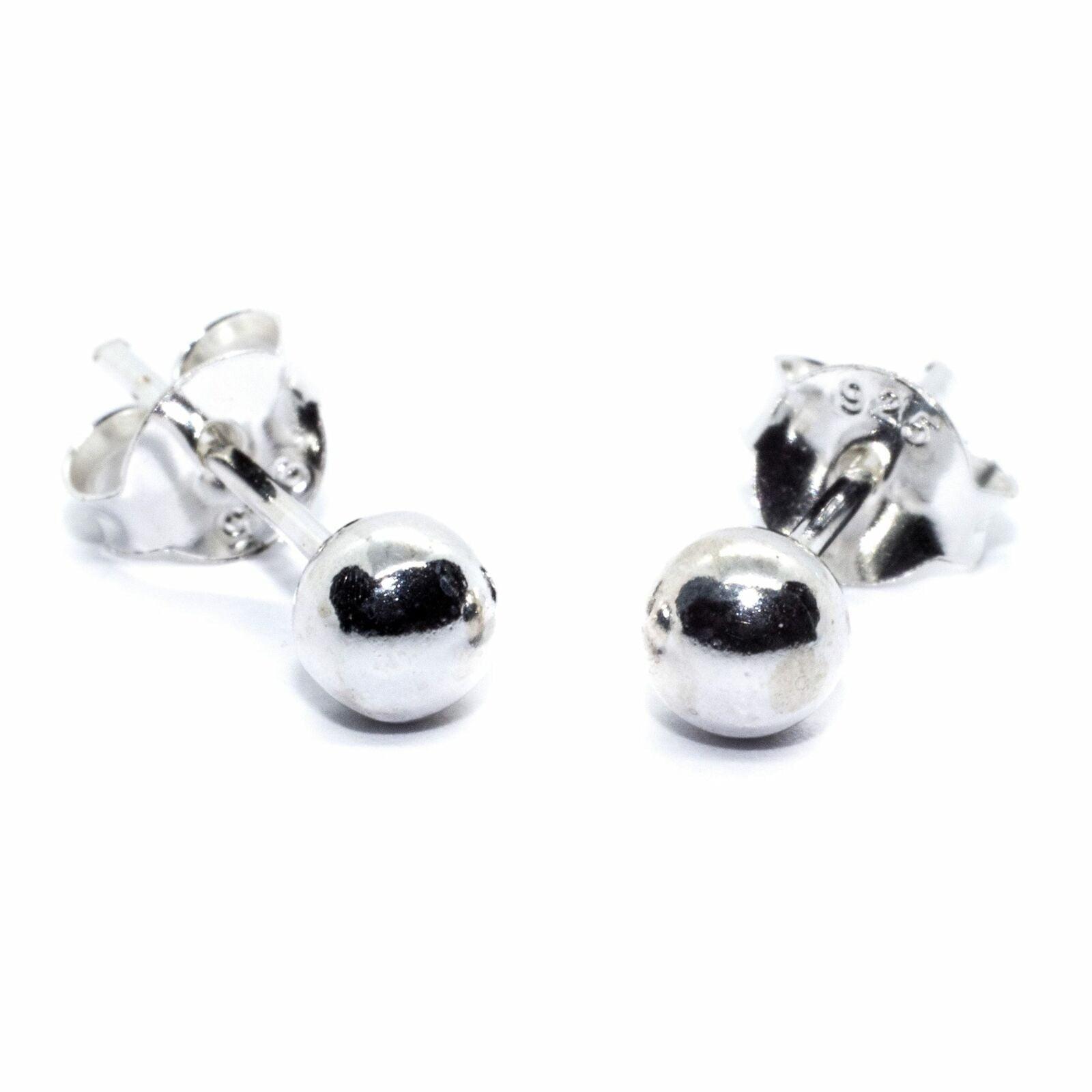 4 mm ball stud earrings in sterling silver 1