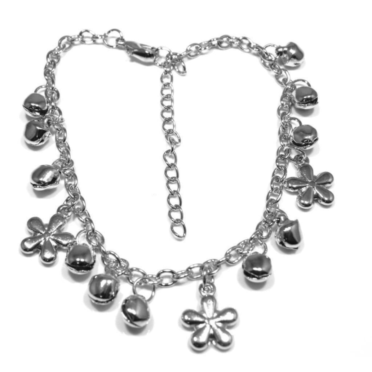 Charm anklet in silver plate with flowers and bells.