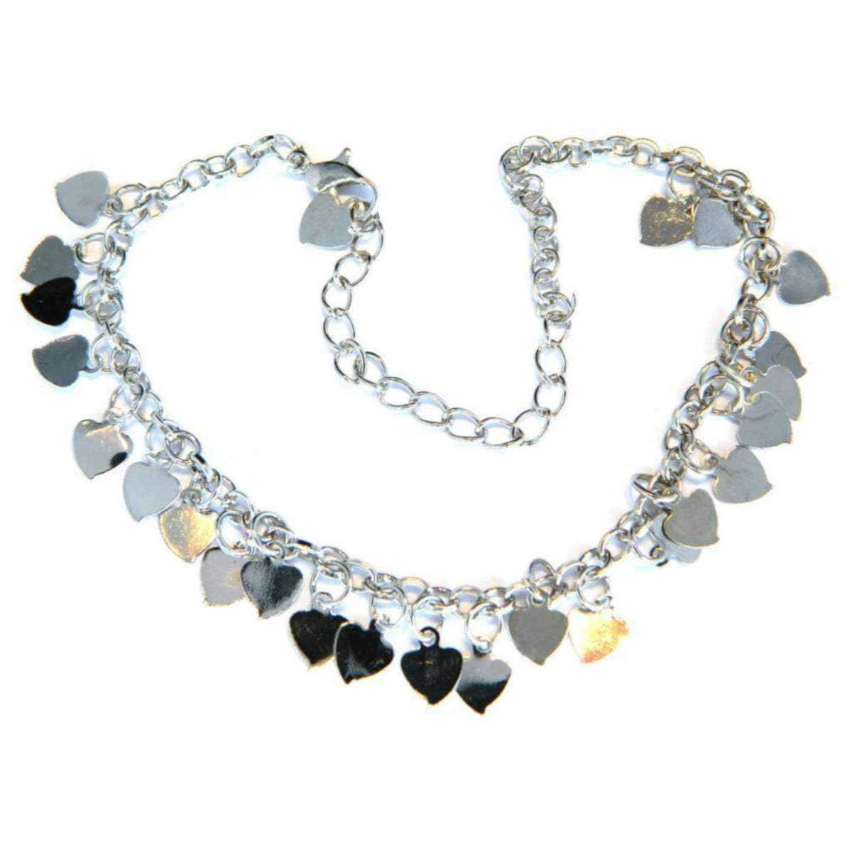 Heart charm anklet in silver plate