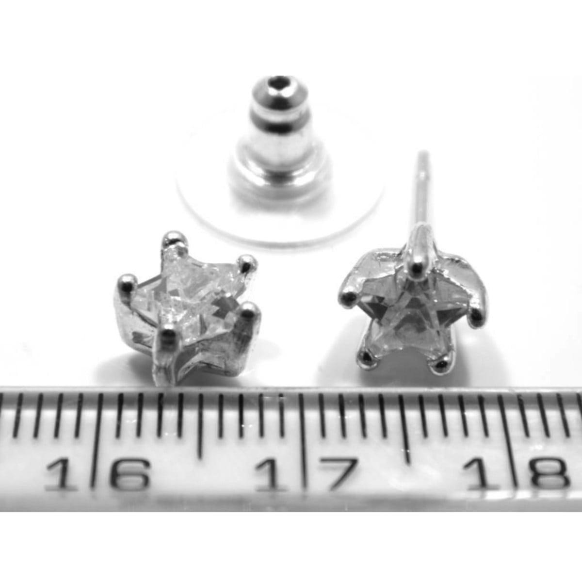 Crystal star stud earrings in silver plate ruler