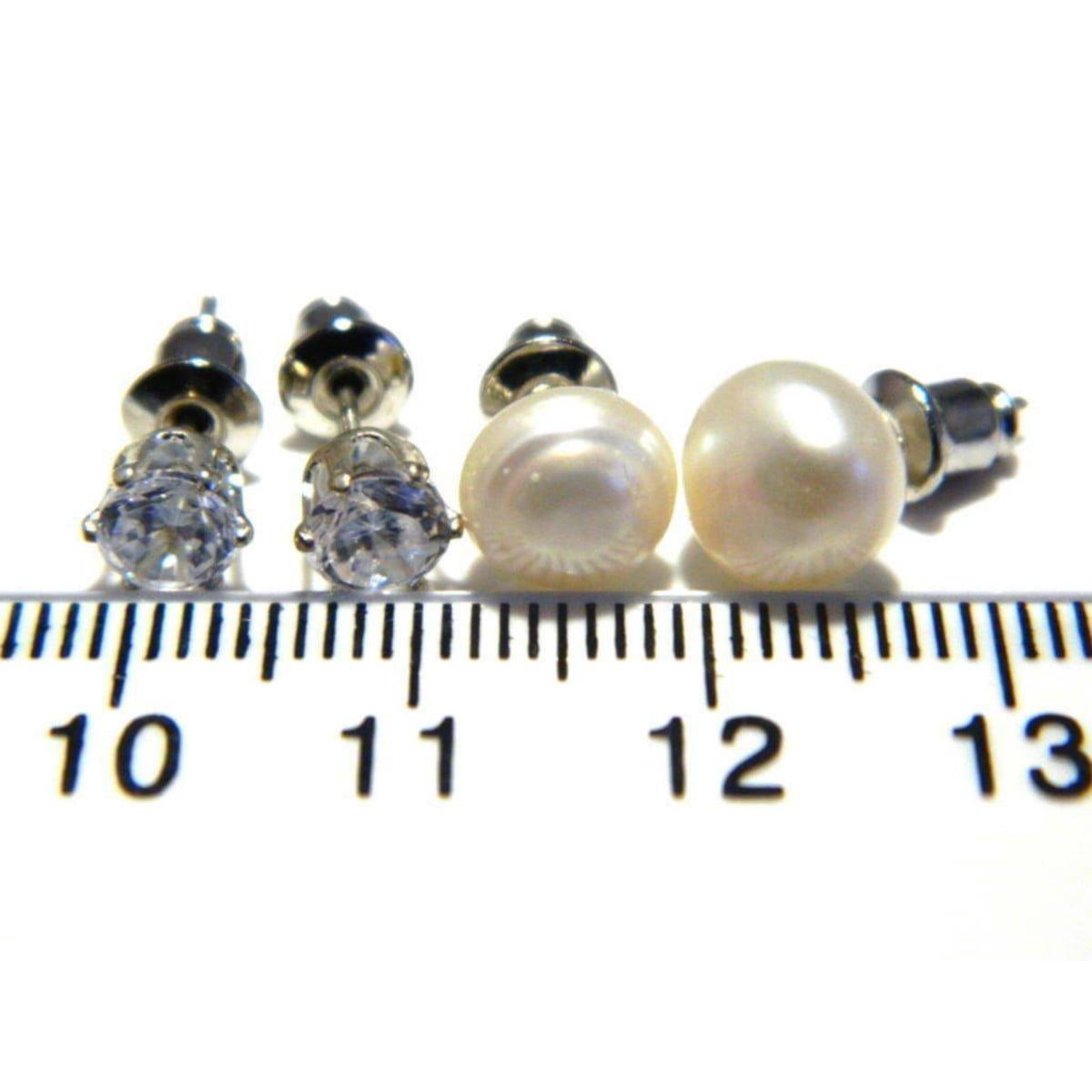 Crystal and pearl stud earrings in silver plate ruler