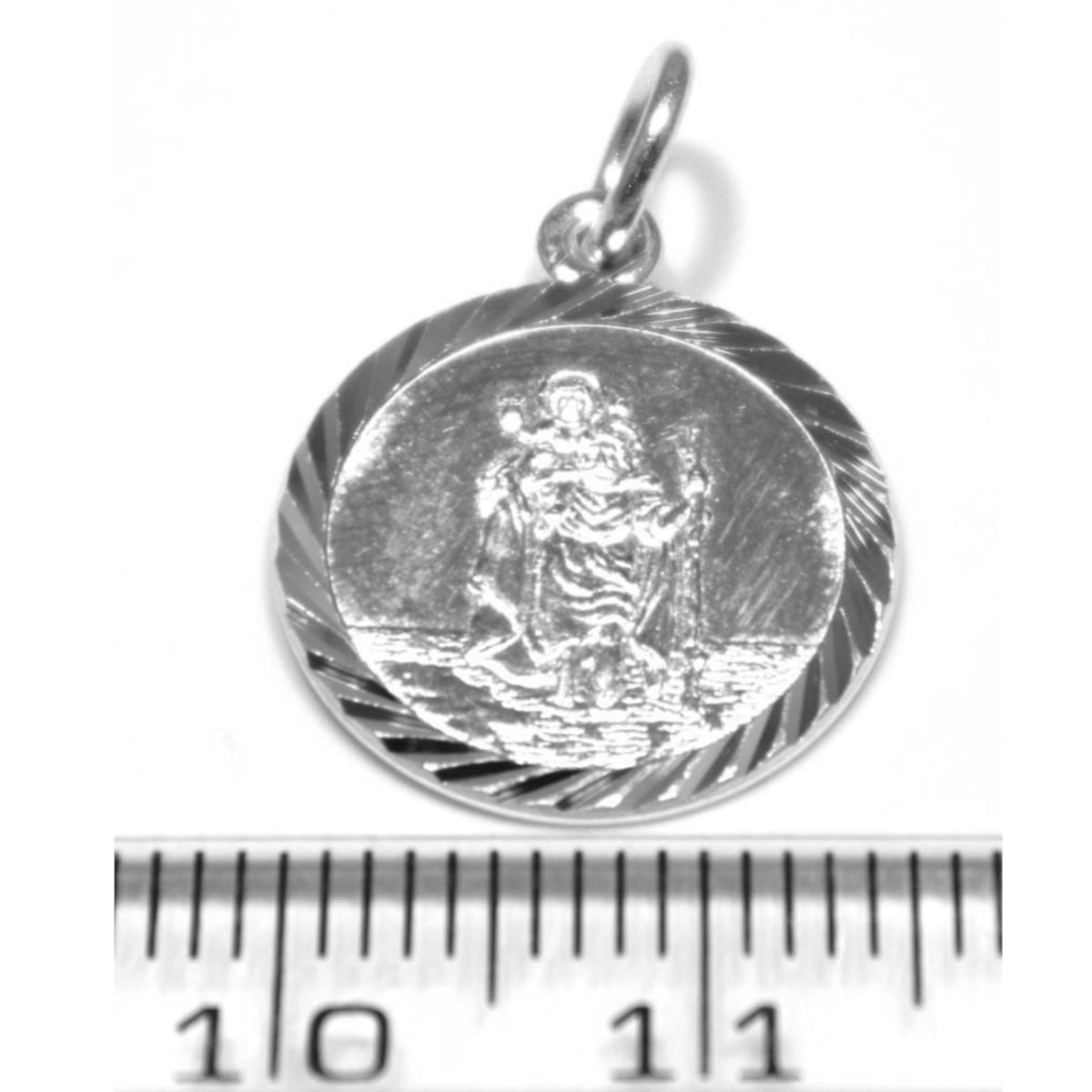 St Christopher pendant charm appx 15mm across in sterling silver ruler