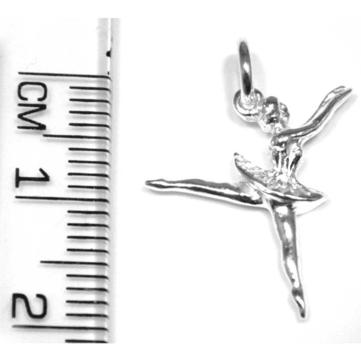 Dancing ballerina pendant charm in sterling silver ruler