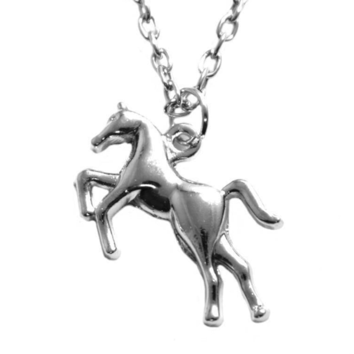 Necklace with prancing horse pendant in silver plate