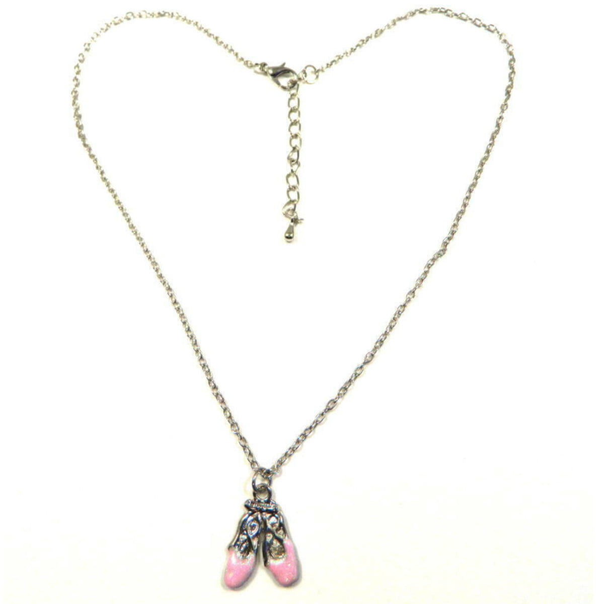 Necklace with childs pink ballerina shoe pendant 1