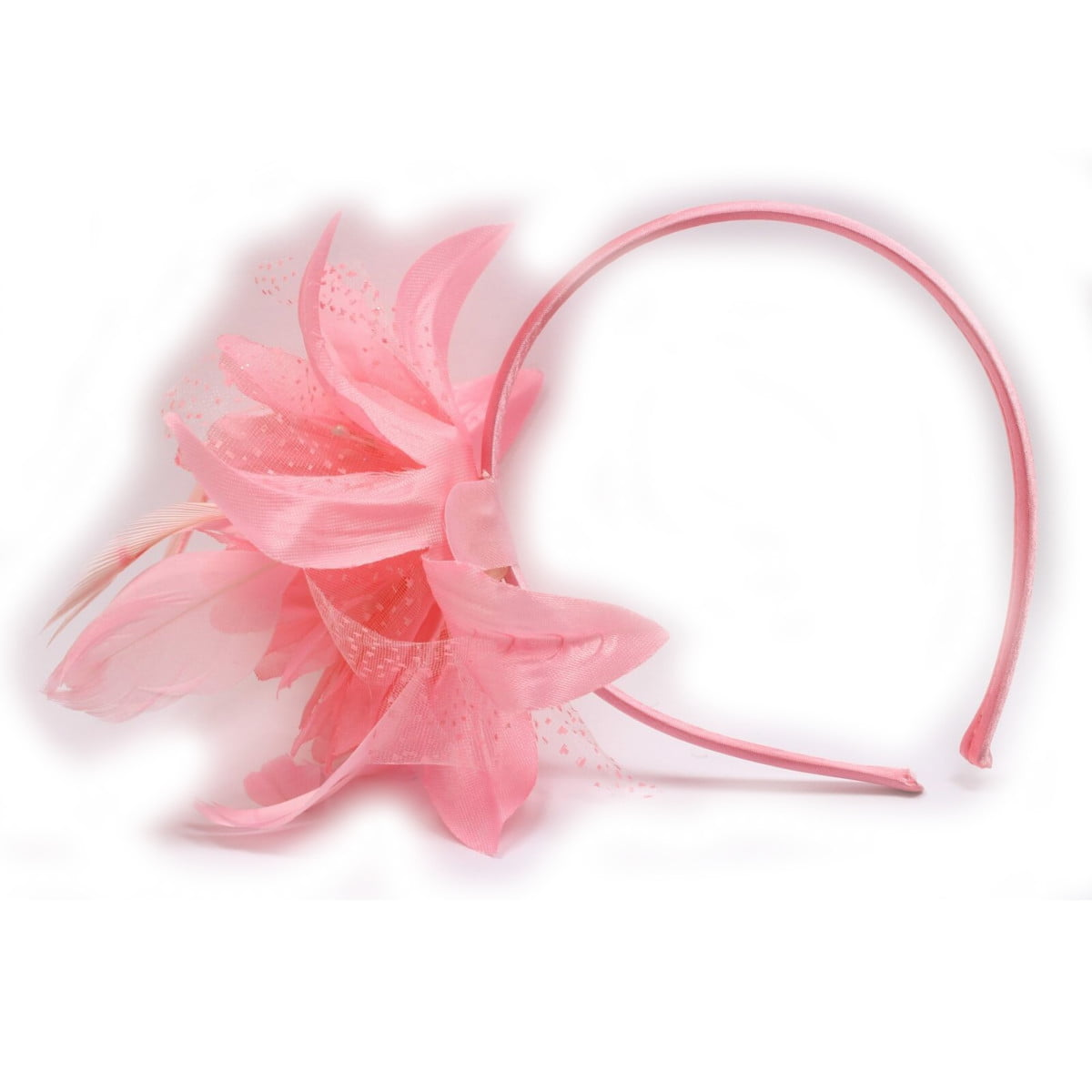 Pink fascinator set on alice band with chiffon flower and feather tendrils