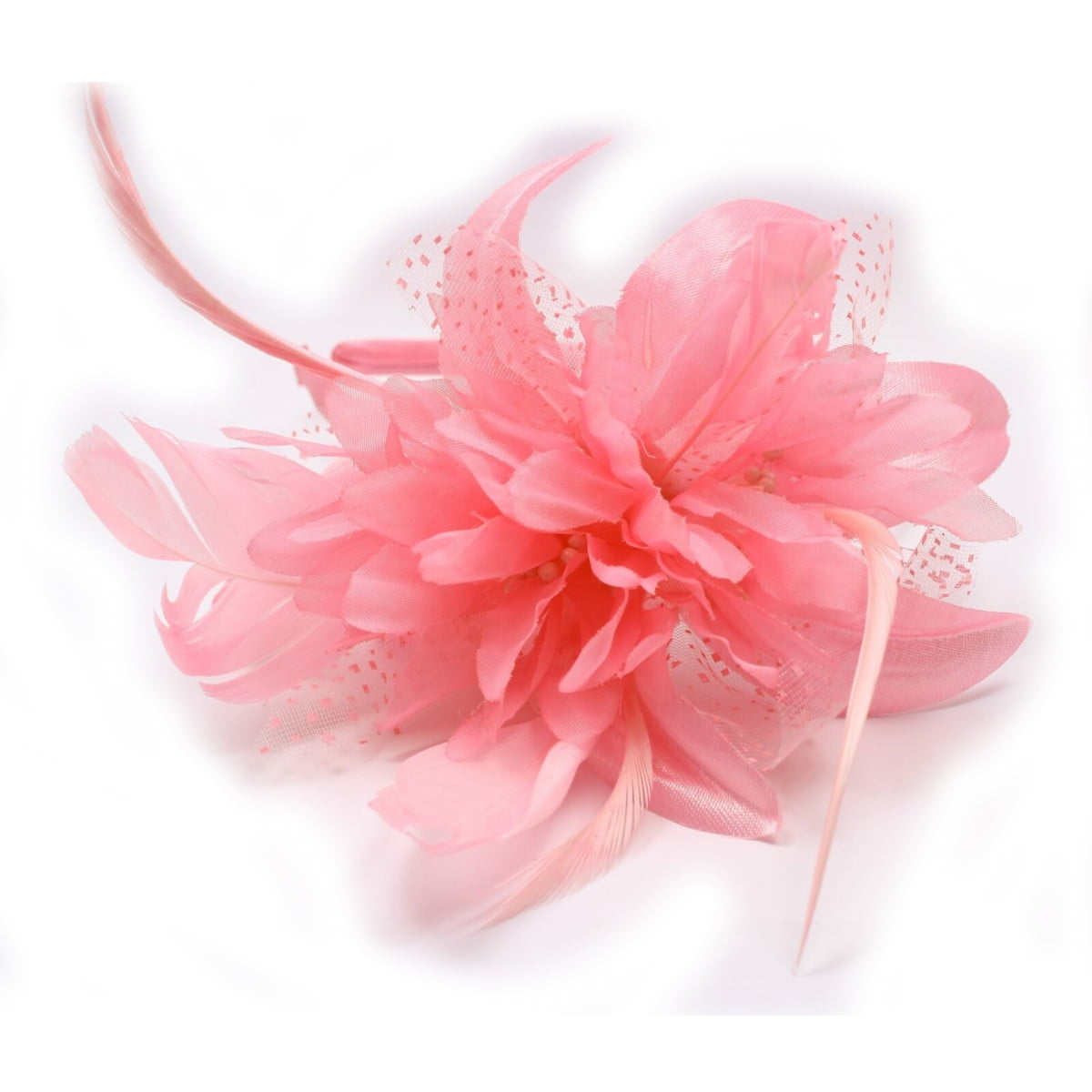 Pink fascinator set on alice band with chiffon flower and feather tendrils 1