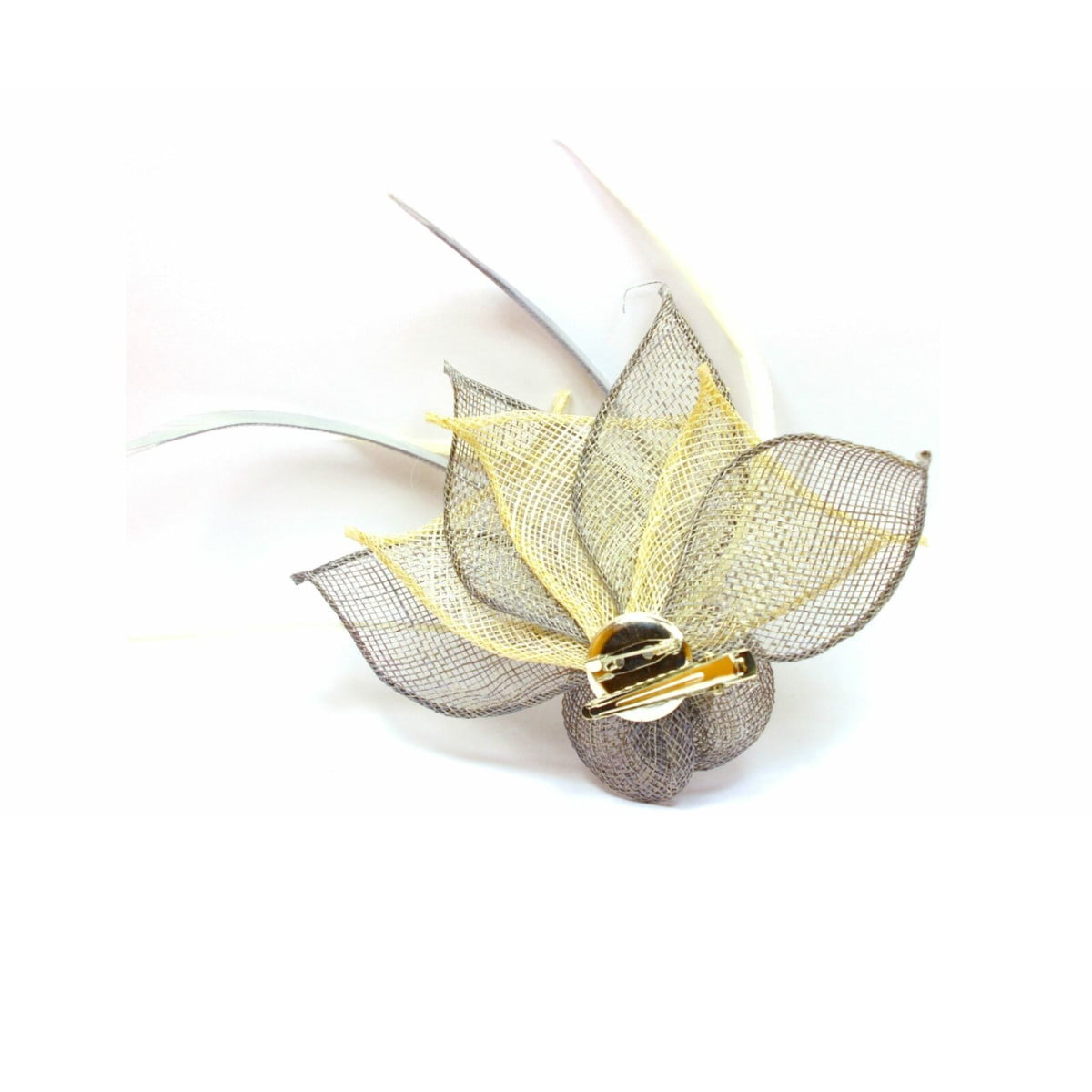 Grey and cream fascinator with hessian rose, petals, and feather tendrils (beak and pin) 1