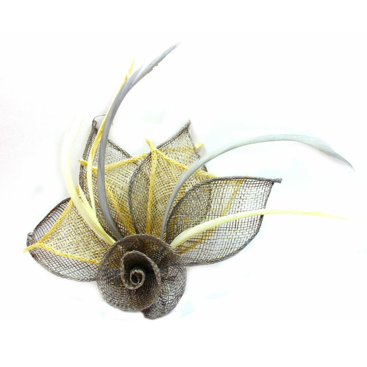 Grey and cream fascinator with hessian rose, petals, and feather tendrils (beak and pin)