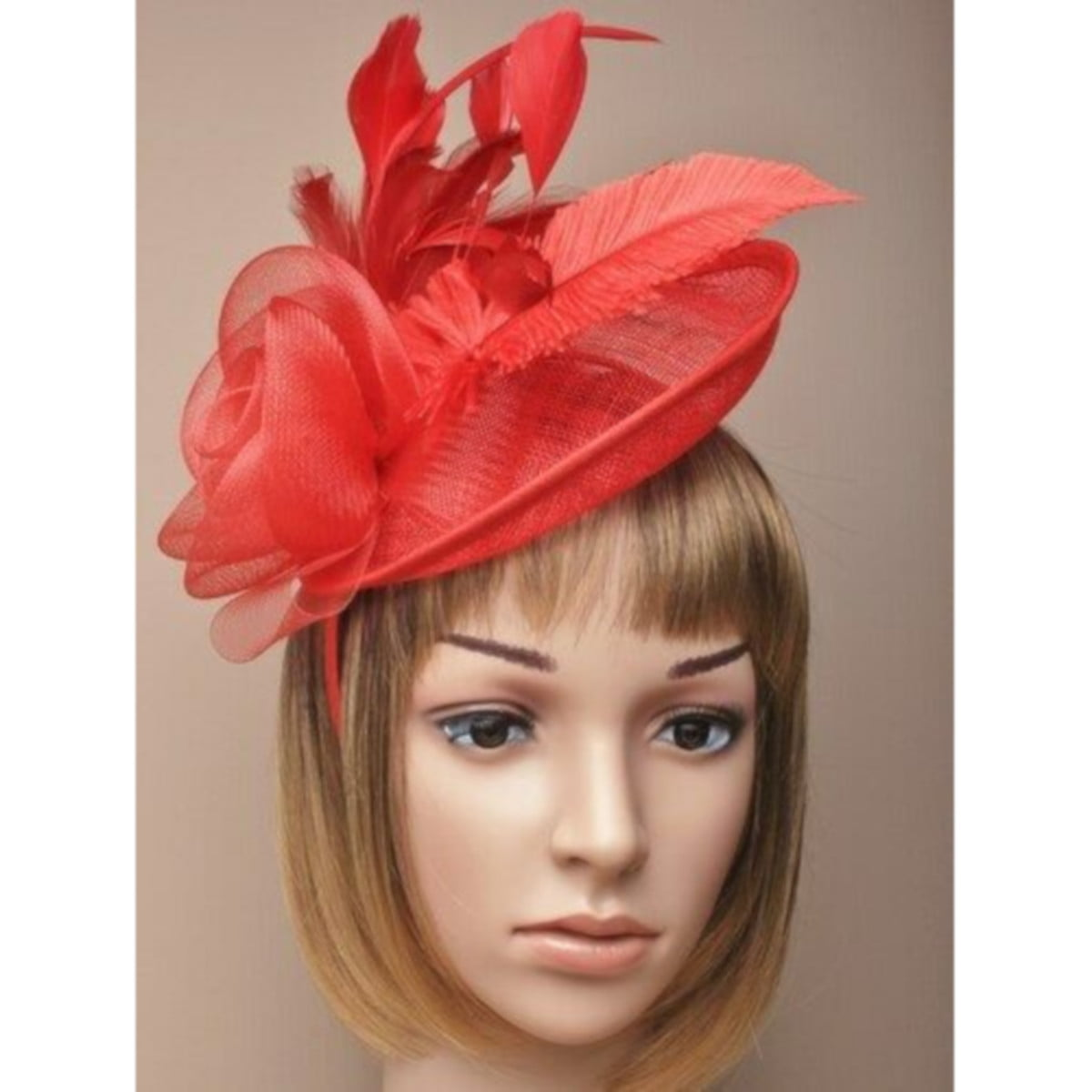 Ladies large red fascinator with feathers and net flower on an alice band. 1