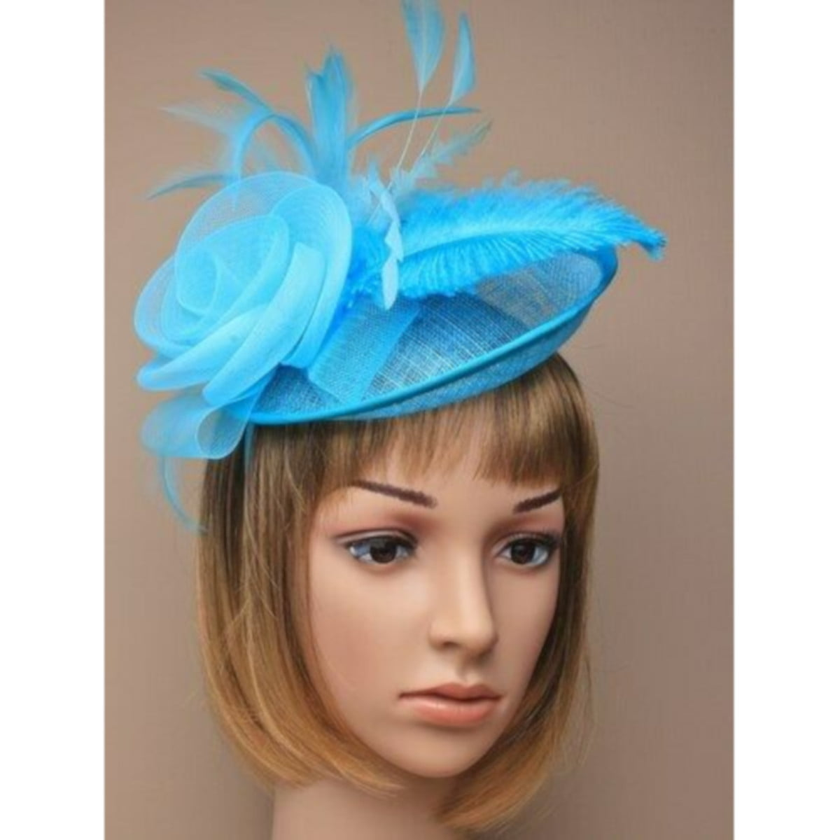 Ladies aqua fascinator with feathers and flower on alice band. 1