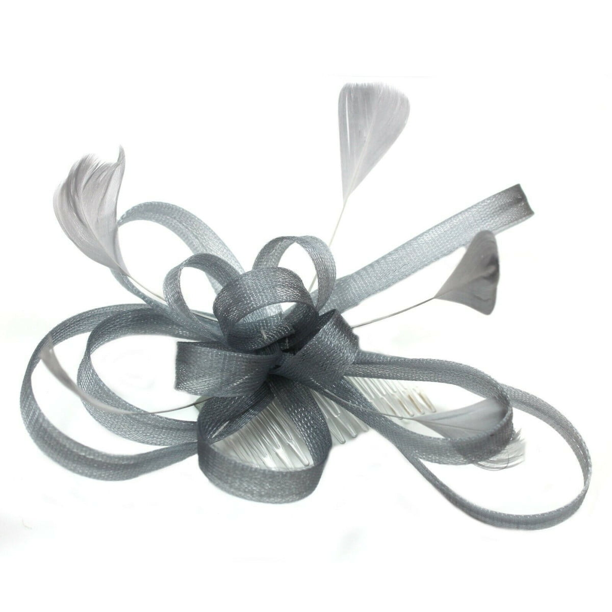 Silver grey fascinator on clear comb with loops and feather tendrils. 3