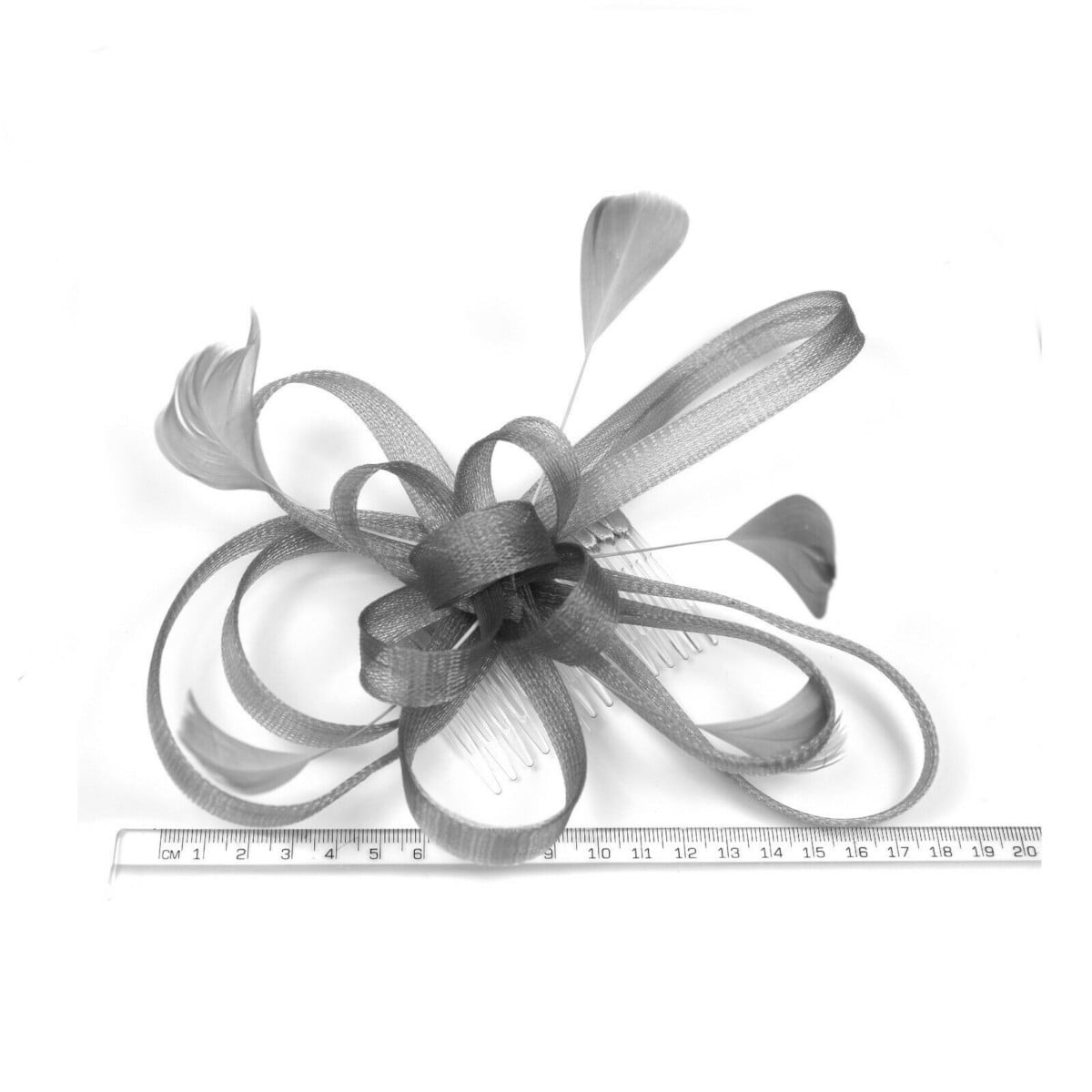 Silver grey fascinator on clear comb with loops and feather tendrils. 2