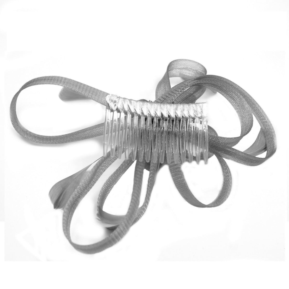 Silver grey fascinator on clear comb with loops and feather tendrils. 1
