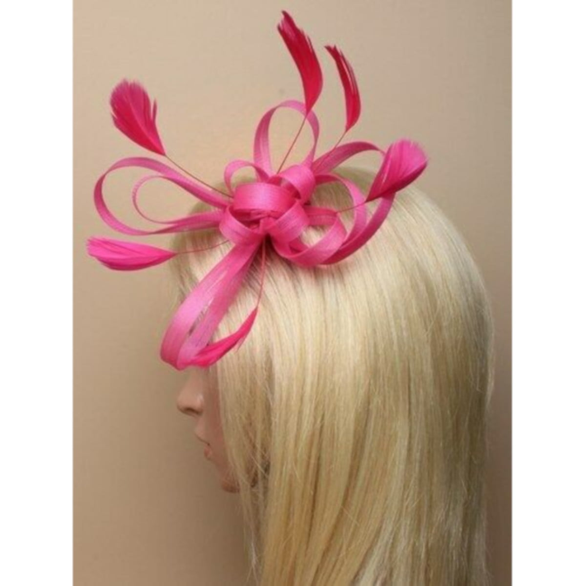 Pink fascinator on clear comb with loops and feather tendrils. 3
