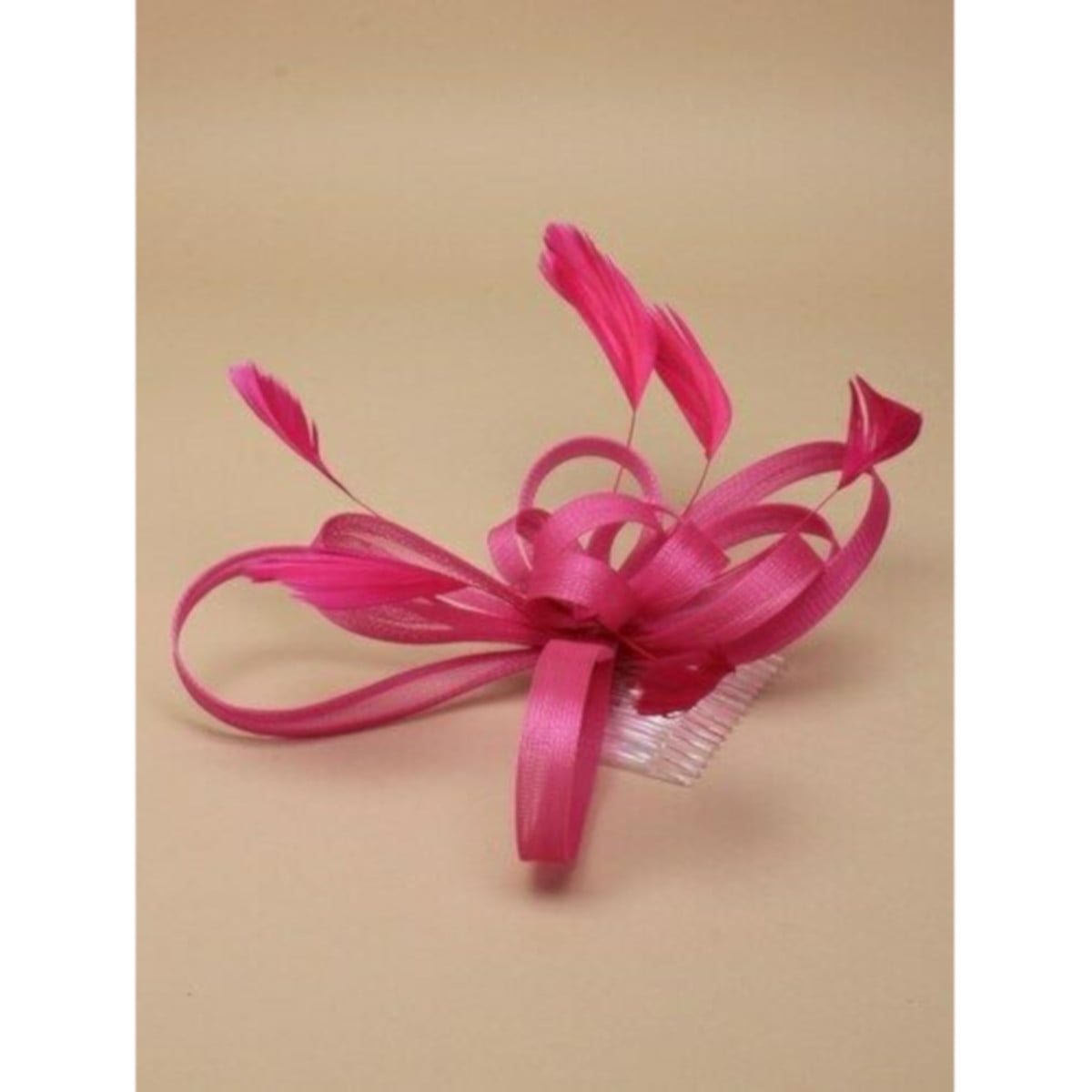 Pink fascinator on clear comb with loops and feather tendrils. 1