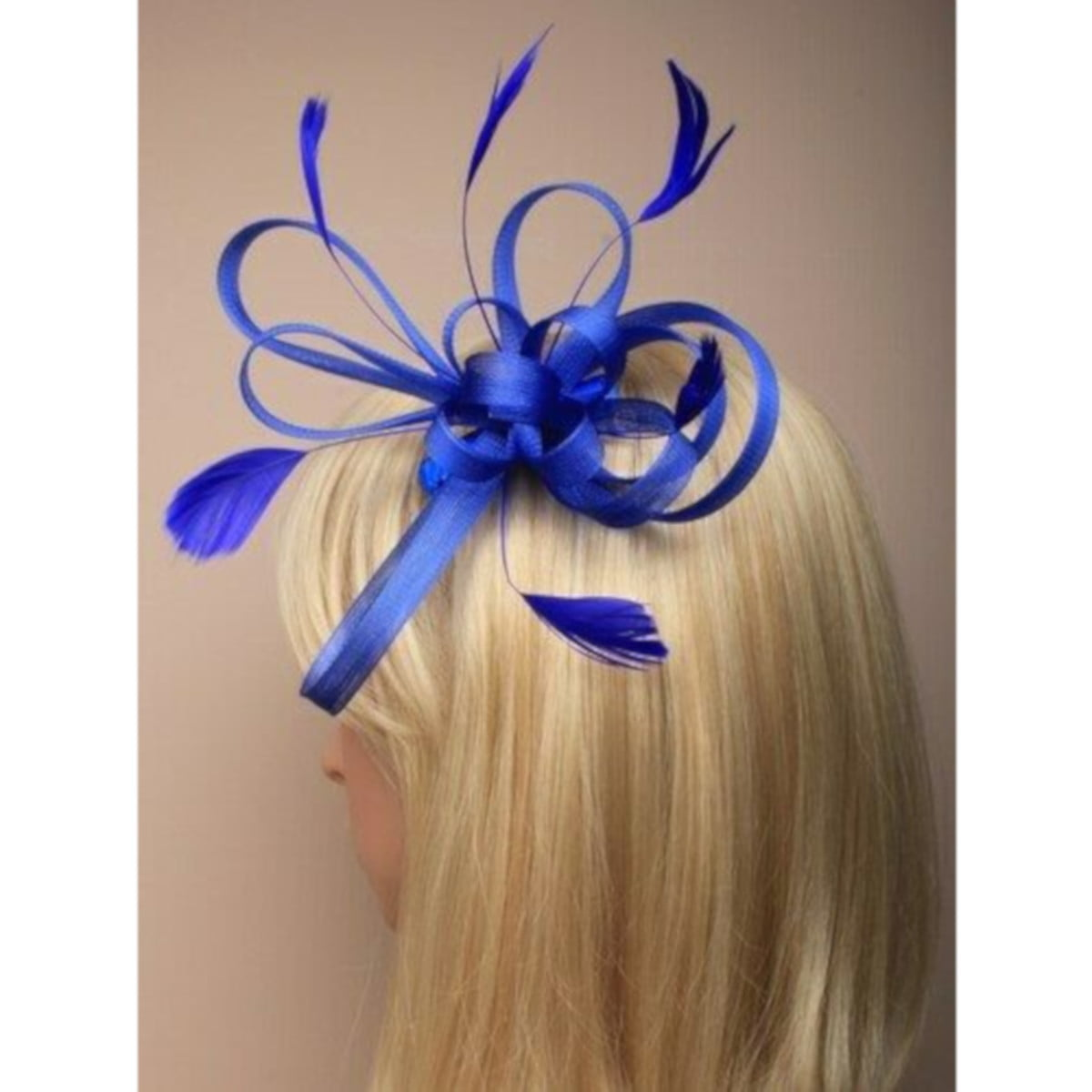 Royal blue fascinator with loops and feathers on clear comb. 3