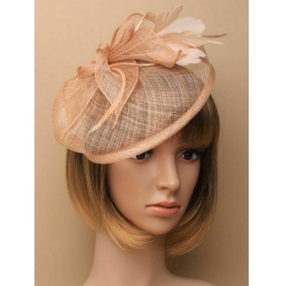 Large peach fascinator on headband
