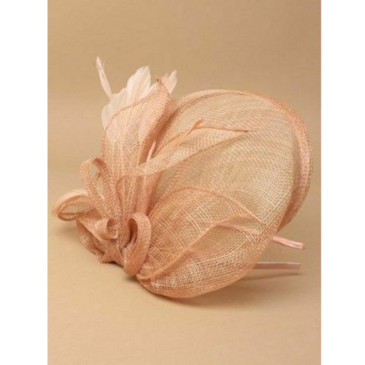 Large peach fascinator on headband 2
