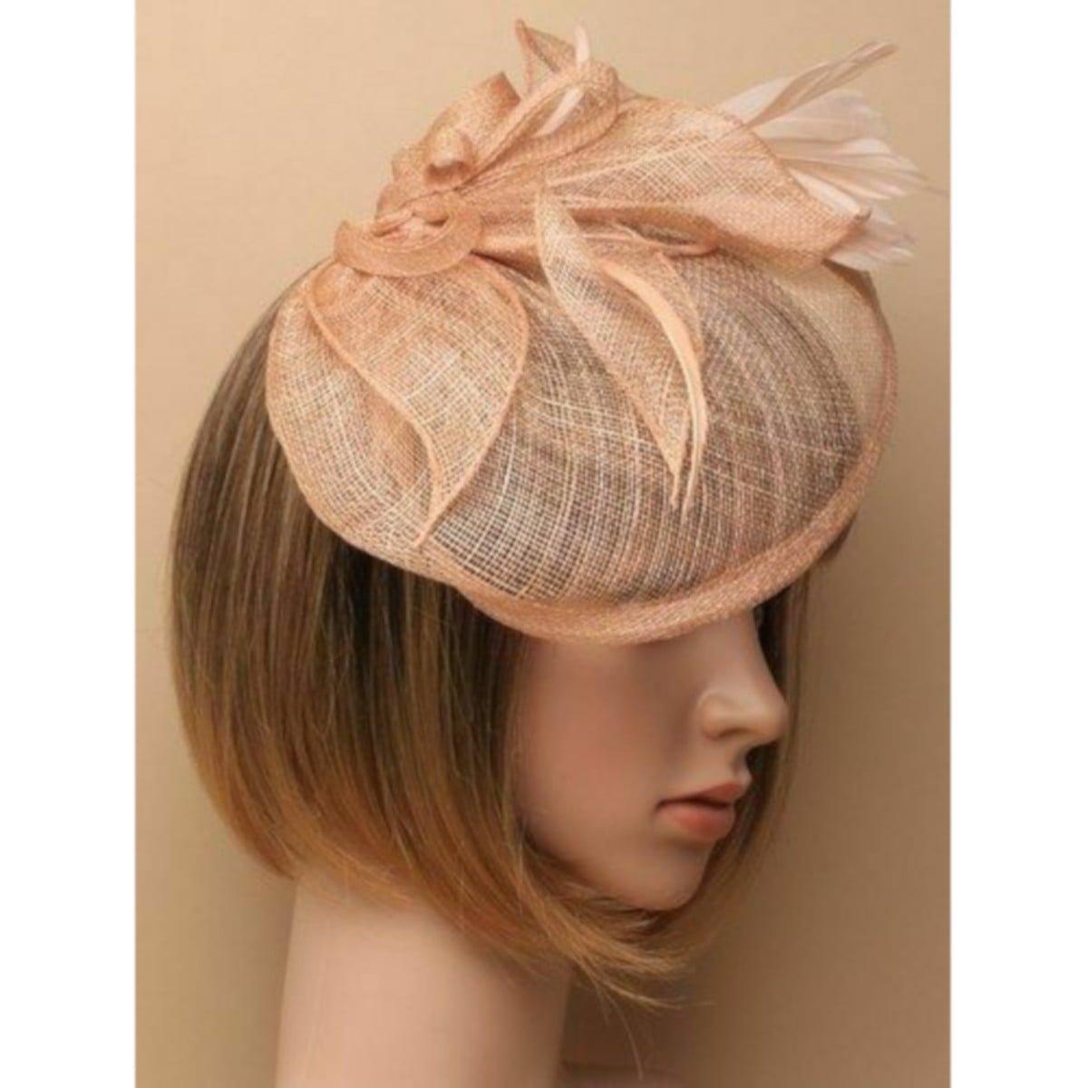 Large peach fascinator on headband 1