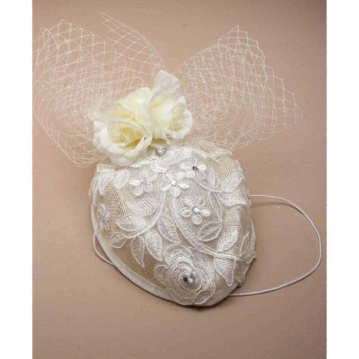 White wedding fascinator with rhinestone detailing 2
