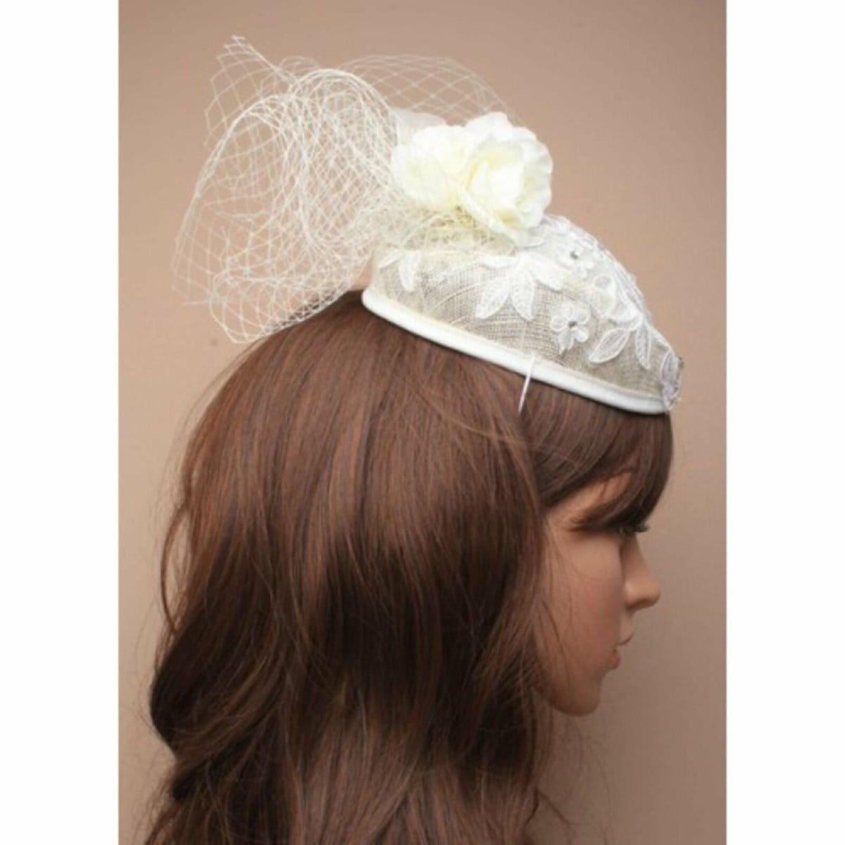 White wedding fascinator with rhinestone detailing 1
