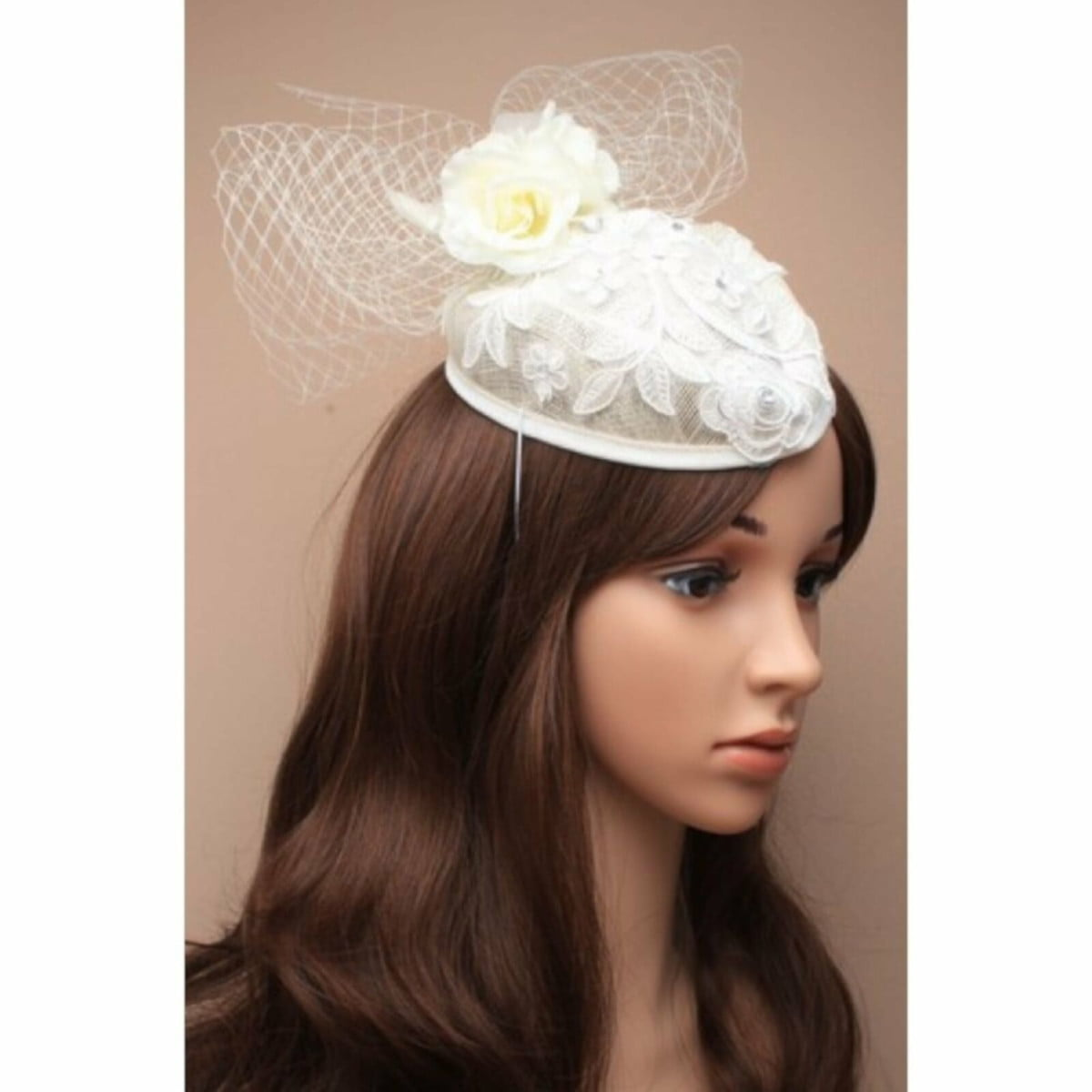 White wedding fascinator with rhinestone detailing