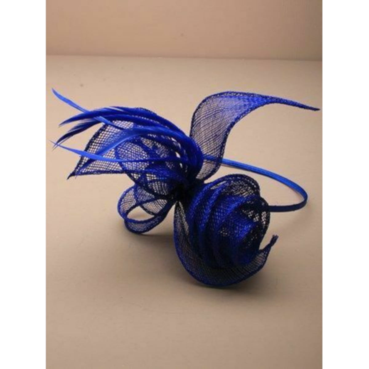 Royal Blue coiled and looped fascinator on aliceband 1