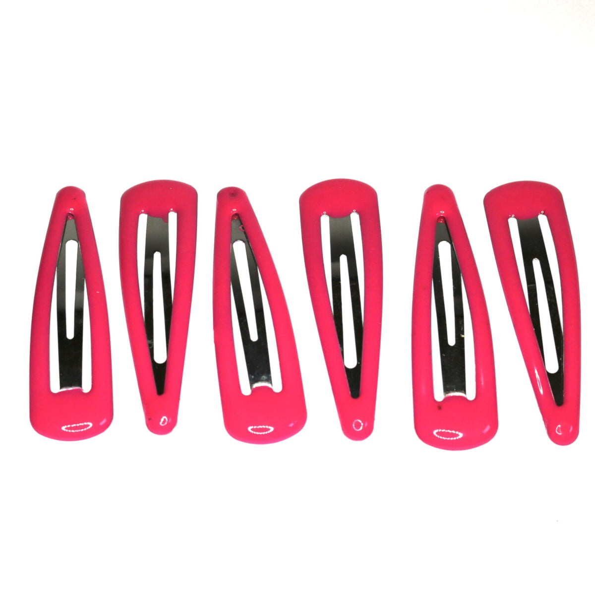 Pink metal hair clips with plastic coating.