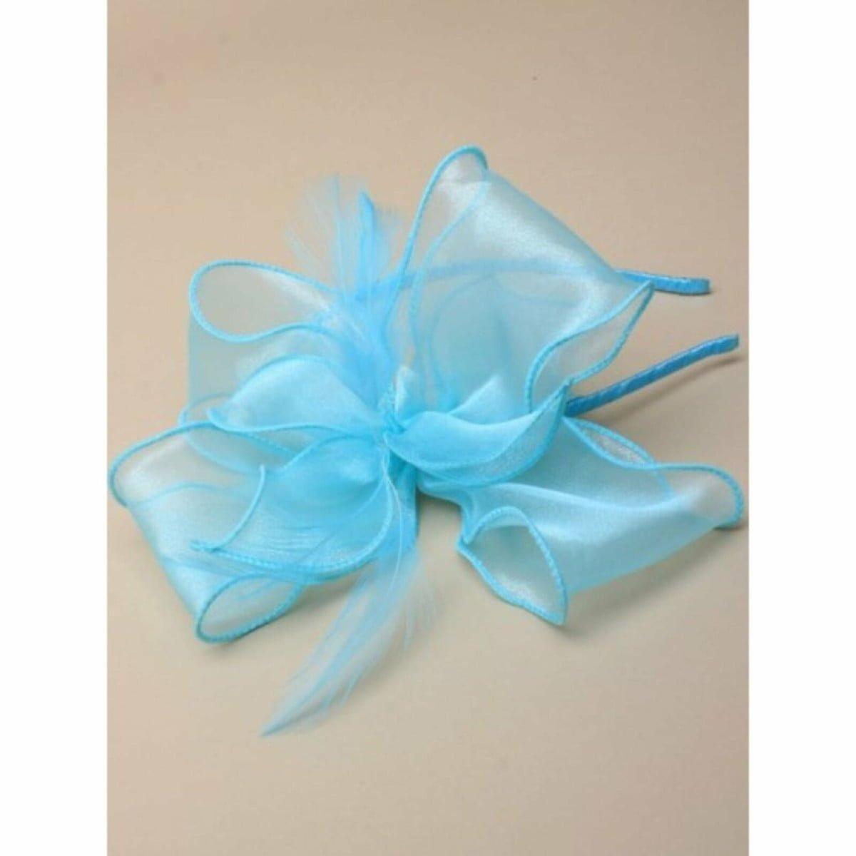 Aqua chiffon fabric fascinator on aliceband 1