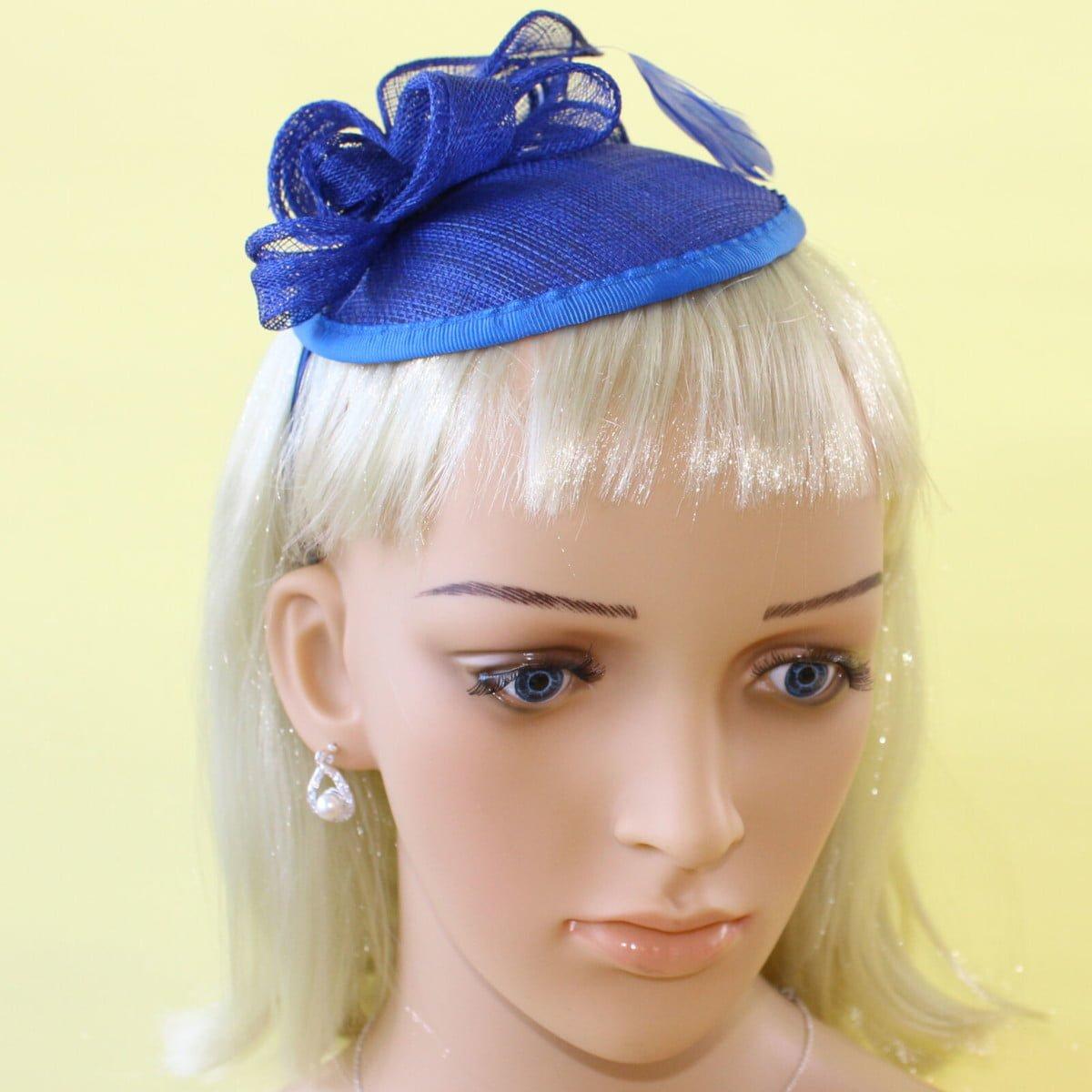 Royal blue hessian fascinator on alice band 2