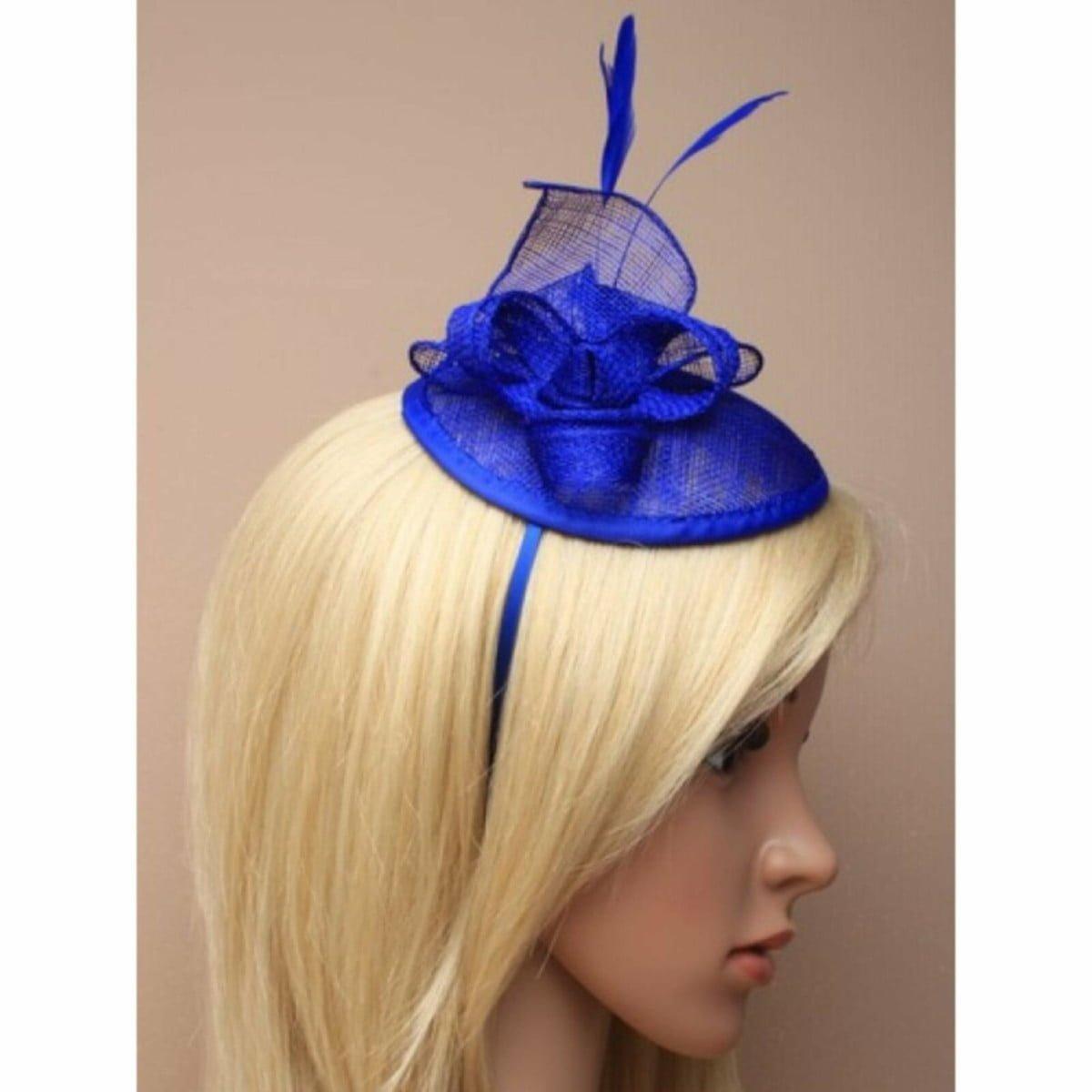 Royal blue hessian fascinator on alice band 1