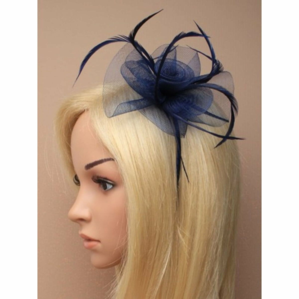 Navy fascinator with flower, feathers on aliceband