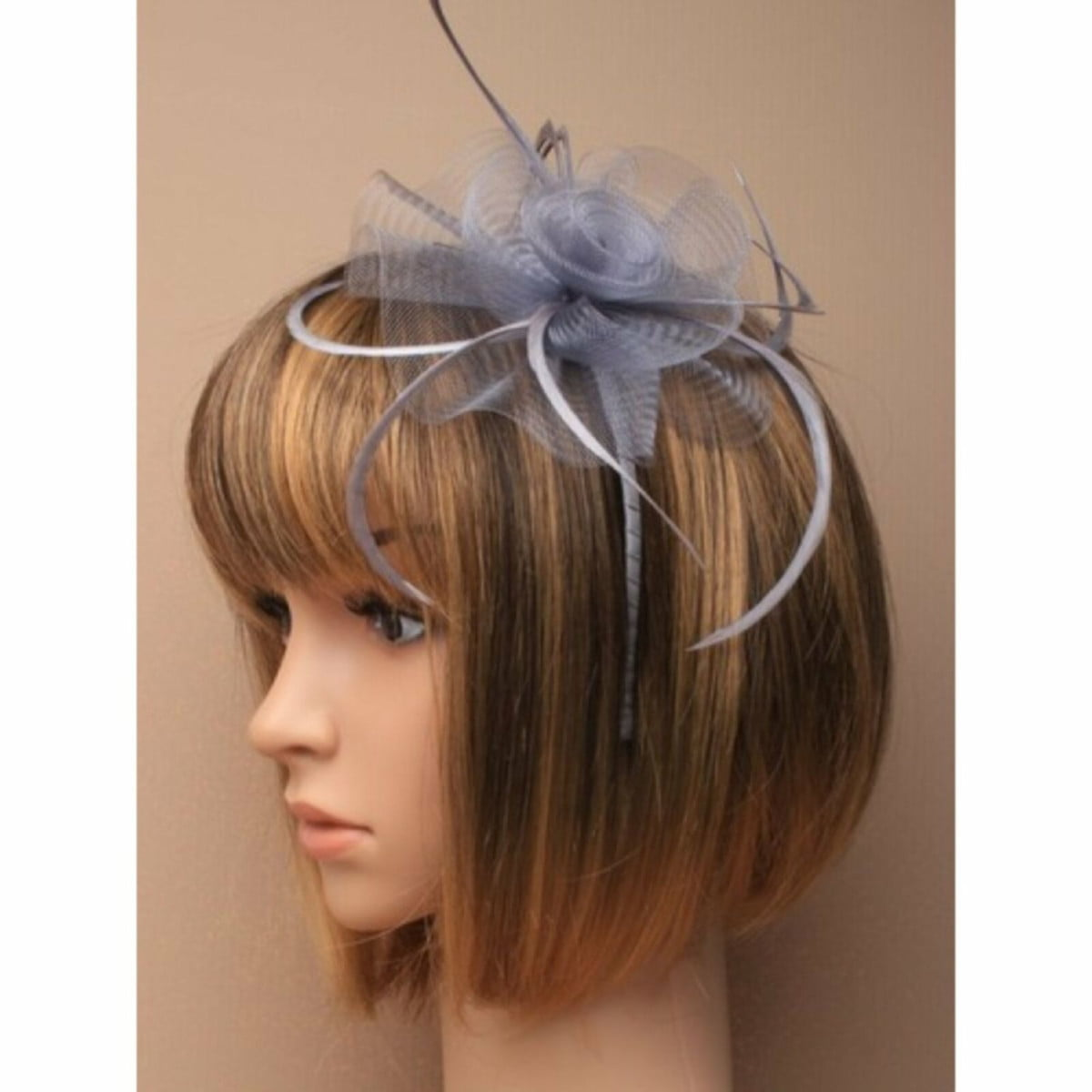 Silver grey net fascinator with feathers on aliceband