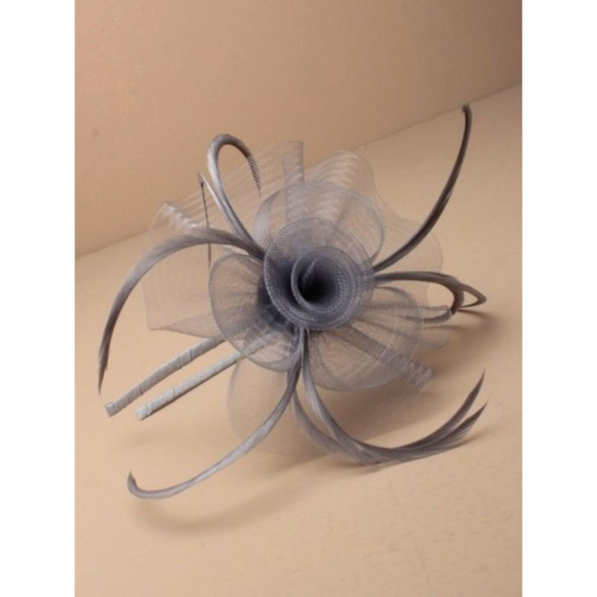 Silver grey net fascinator with feathers on aliceband 1