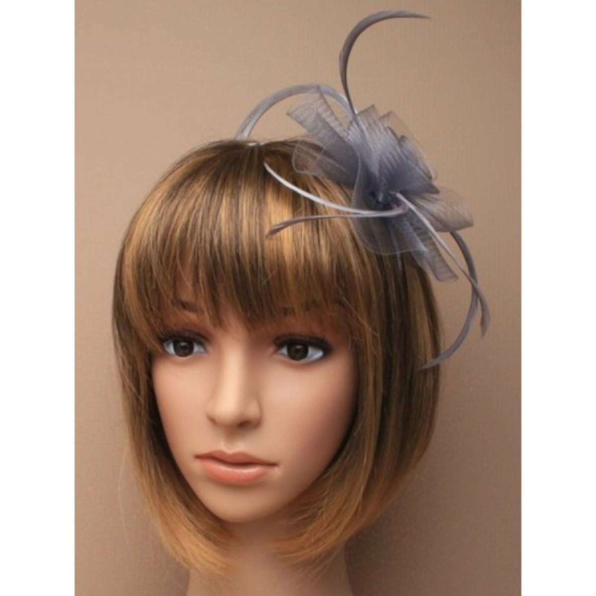 Silver grey net fascinator with feathers on aliceband 2