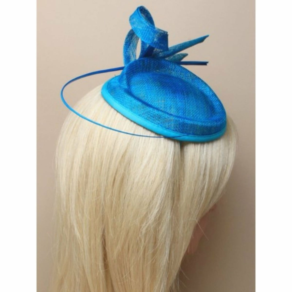 Teal fascinator with Ostrich quill on self coloured aliceband 2