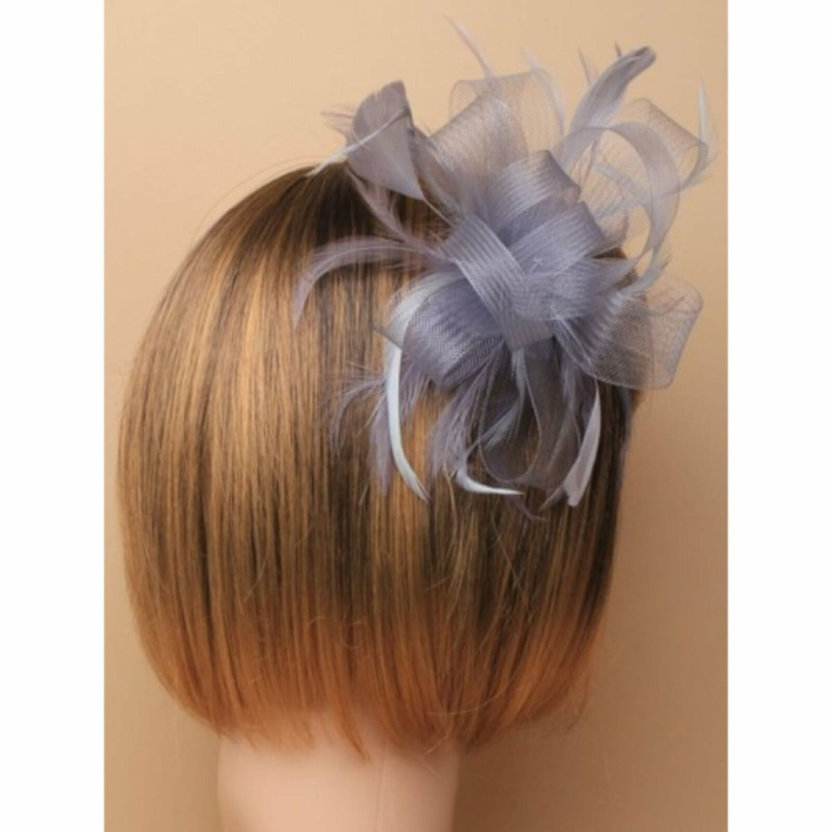 Silver grey looped net fascinator on a clear comb 2