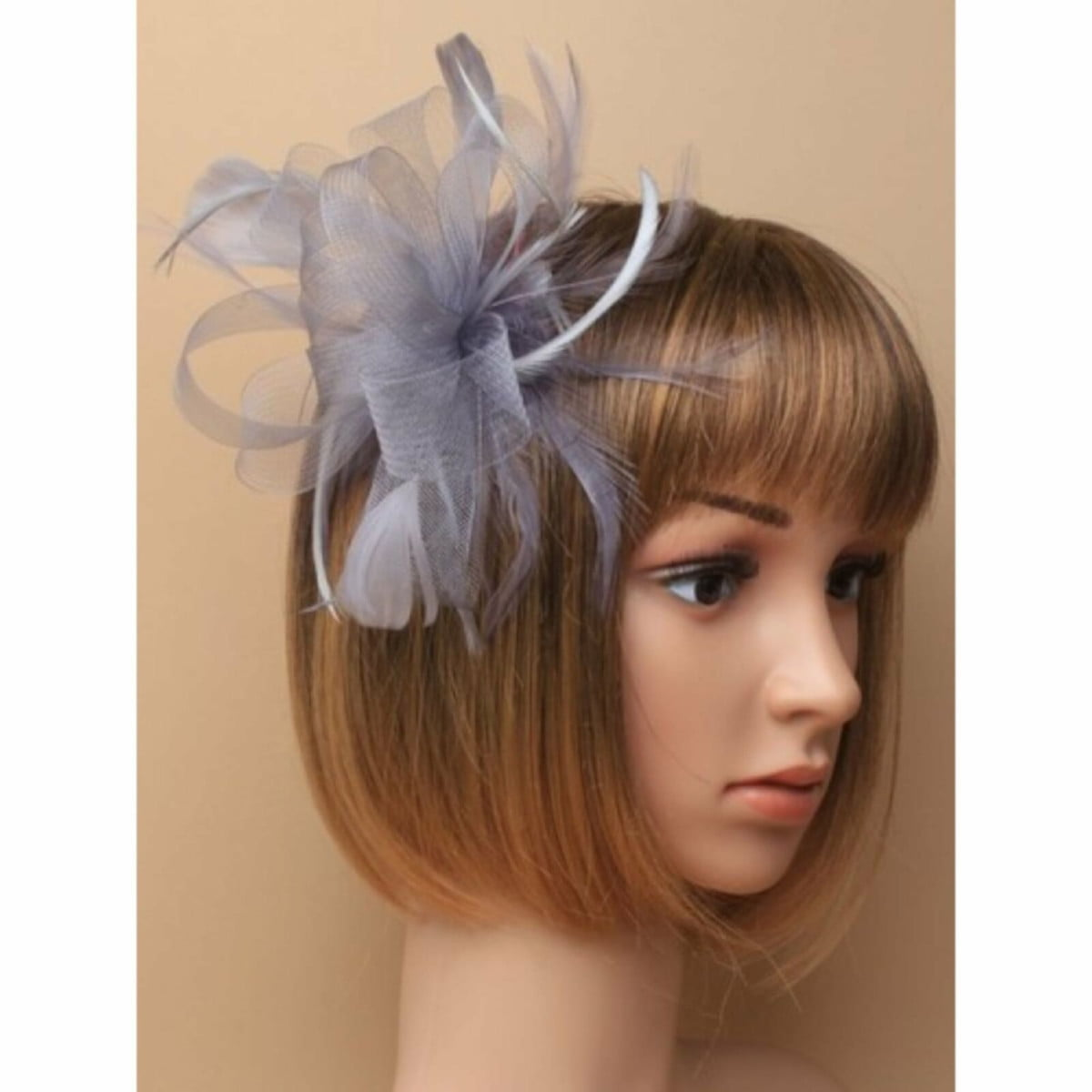 Silver grey looped net fascinator on a clear comb 3