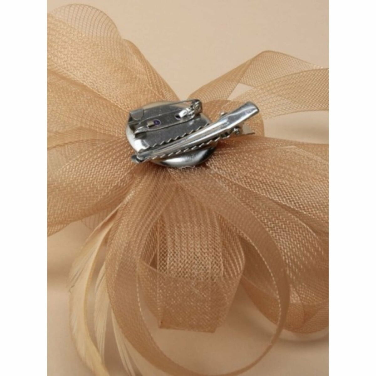 Light brown sinamay fascinator with clip and pin 3