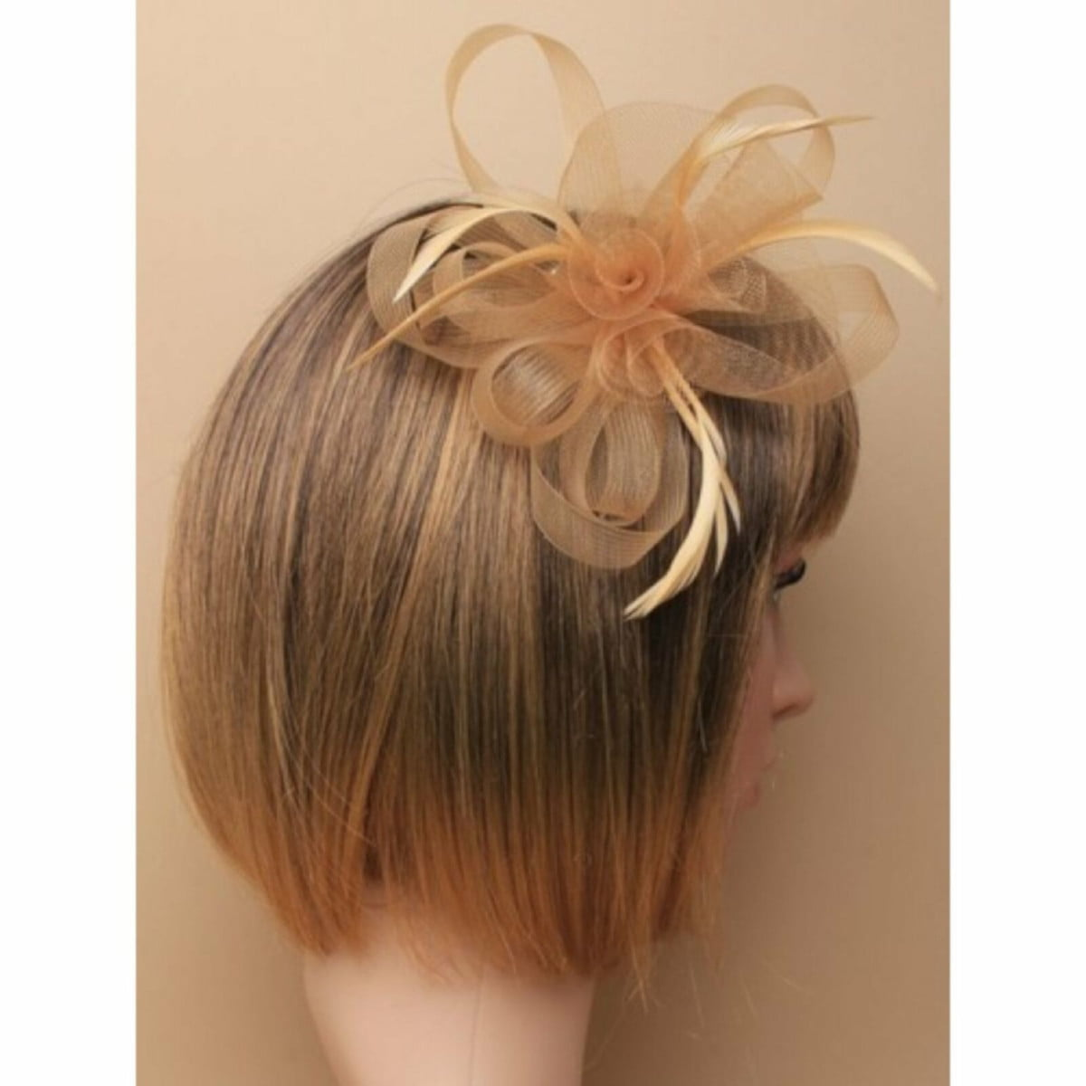 Light brown sinamay fascinator with clip and pin 2