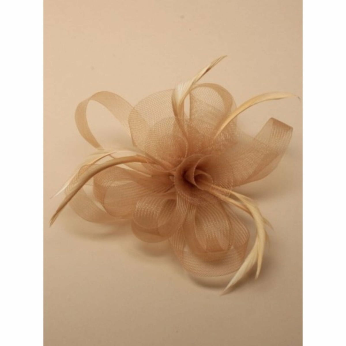 Light brown sinamay fascinator with clip and pin 1