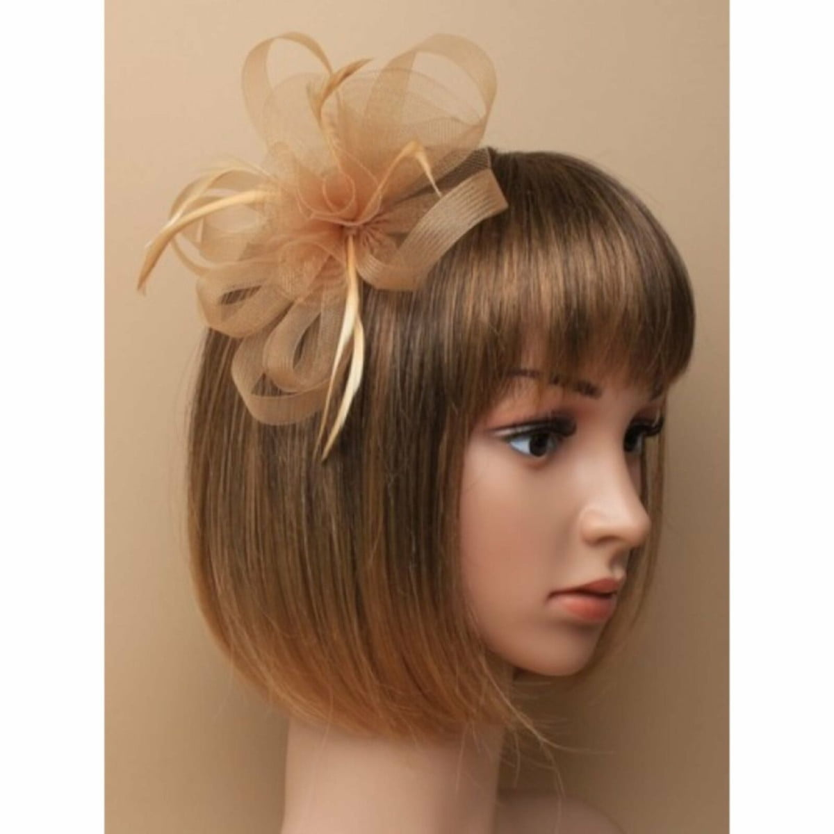 Light brown sinamay fascinator with clip and pin