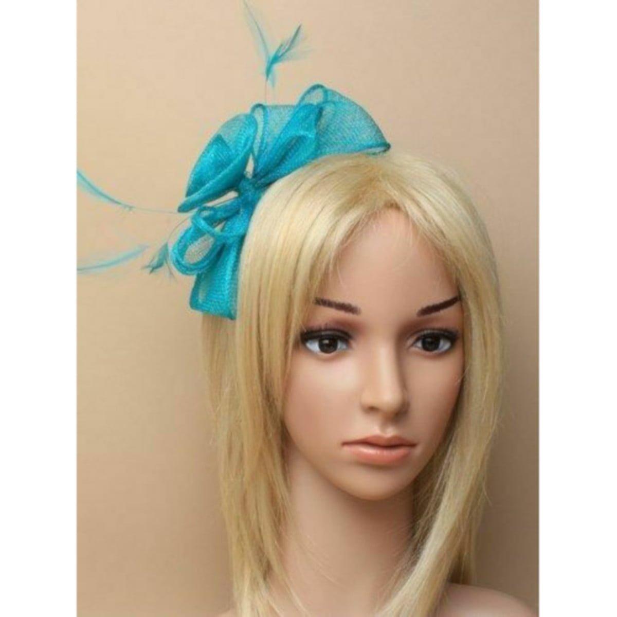 Aquamarine fascinator on self coloured headband 1