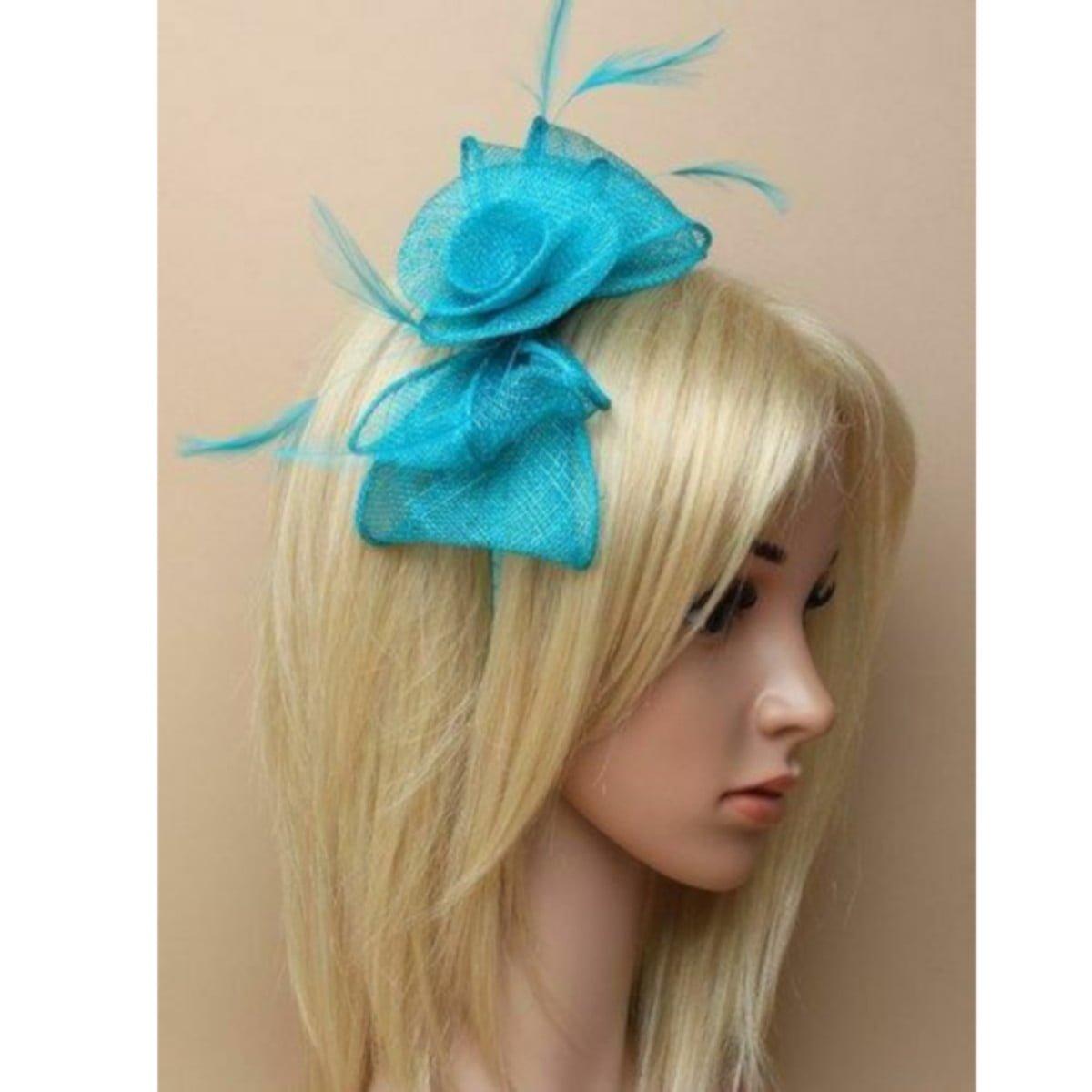 Aquamarine fascinator on self coloured headband