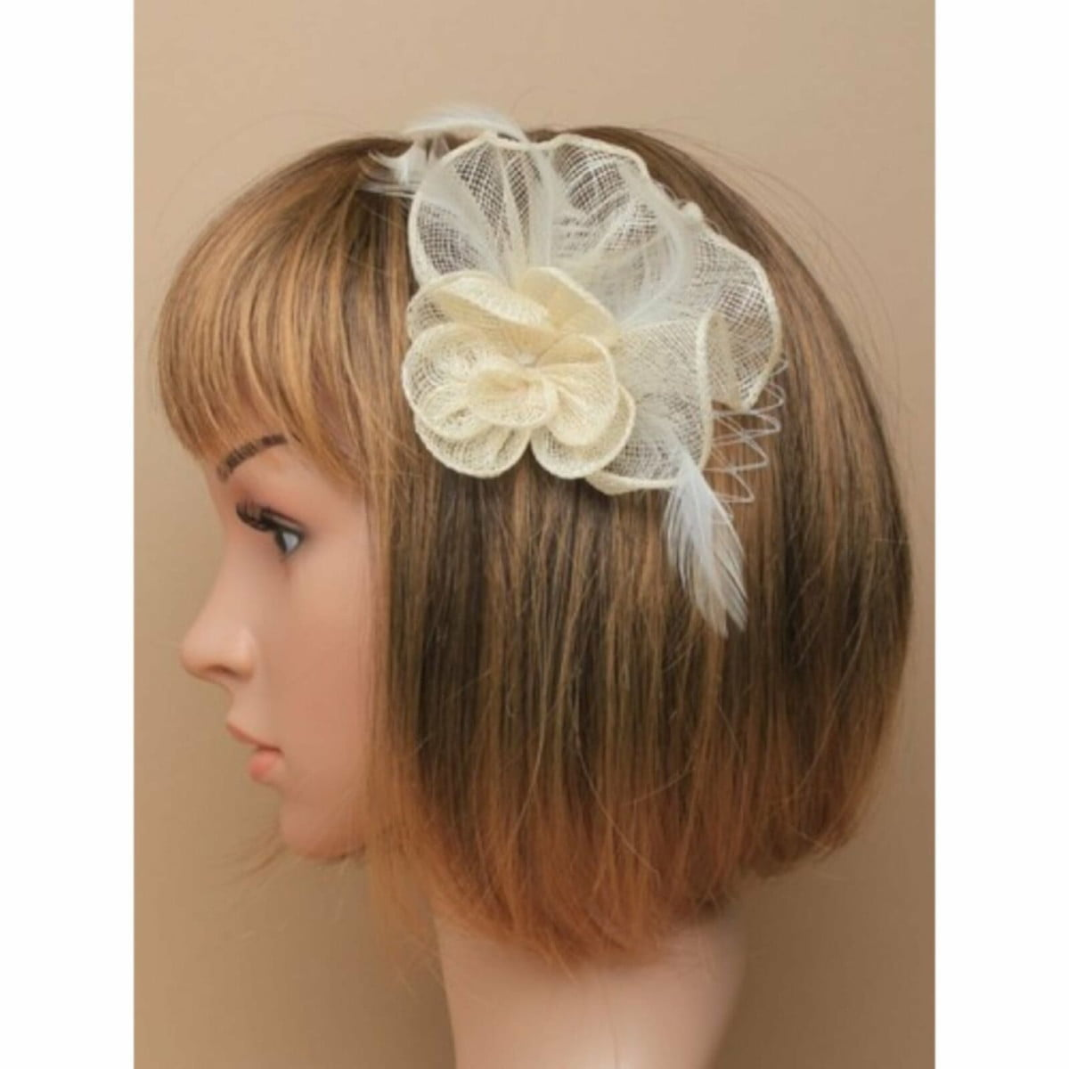 Cream sinamay flower and net fascinator with clip and pin