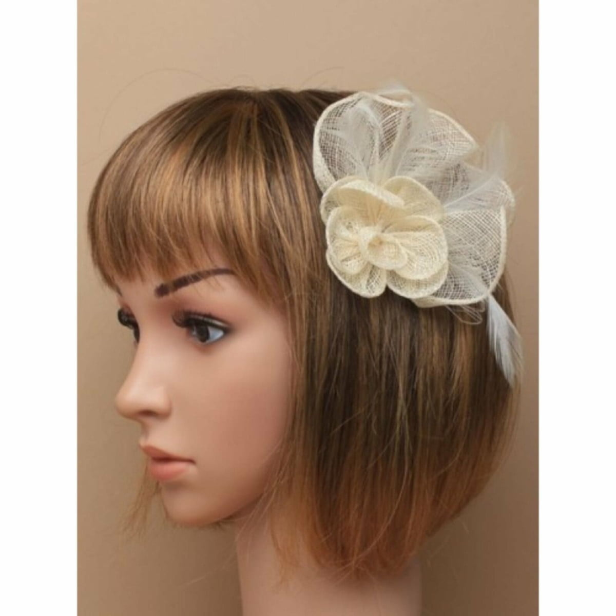 Cream sinamay flower and net fascinator with clip and pin 1