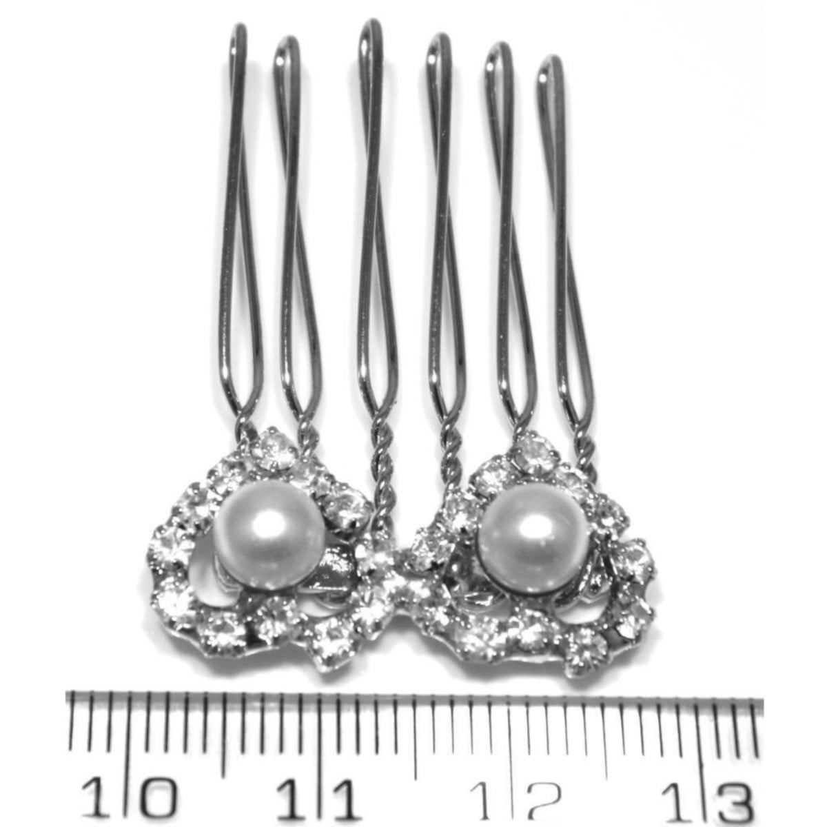 Crystal and pearl hearts hair comb in silver plate ruler