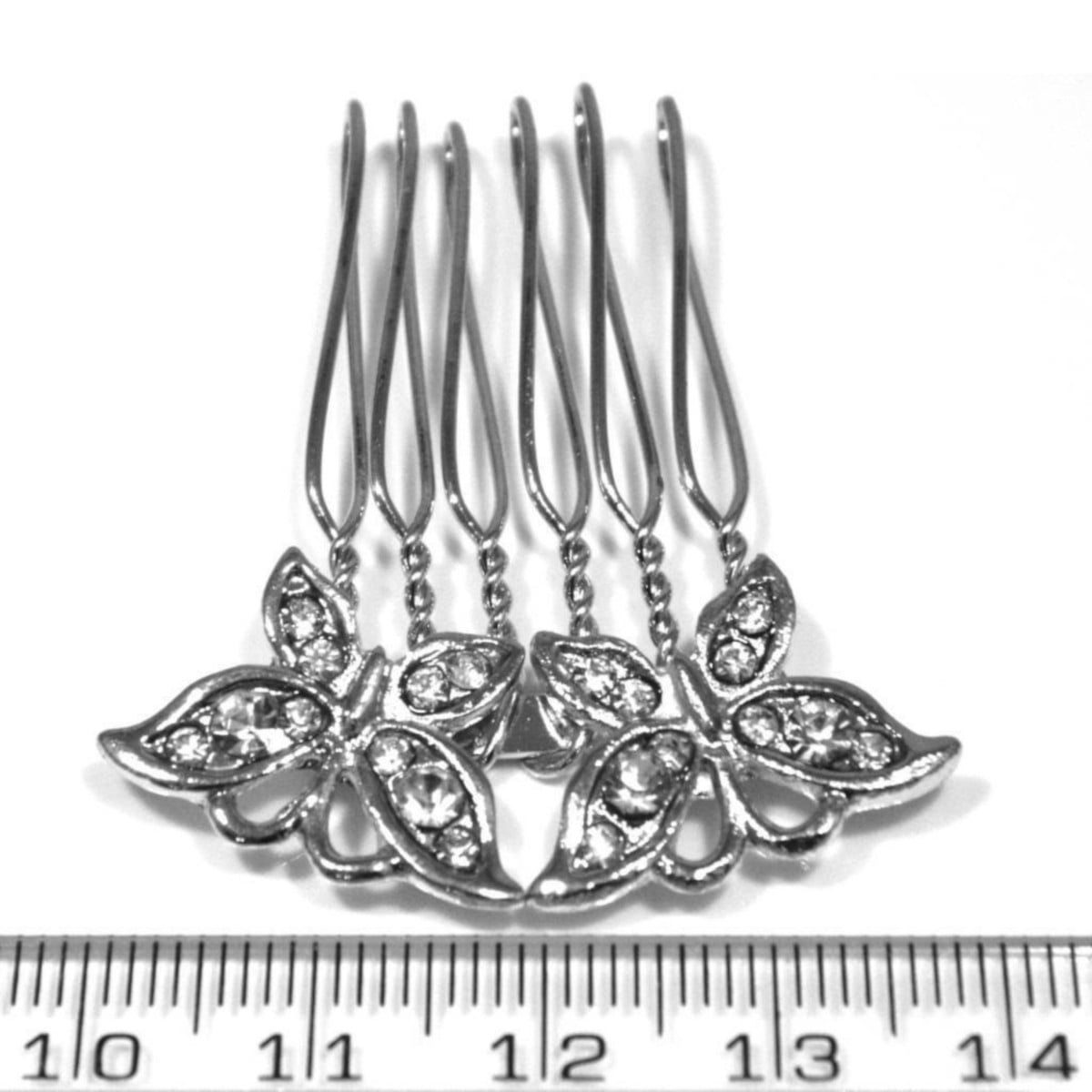 Crystal butterflies hair comb in silver plate ruler