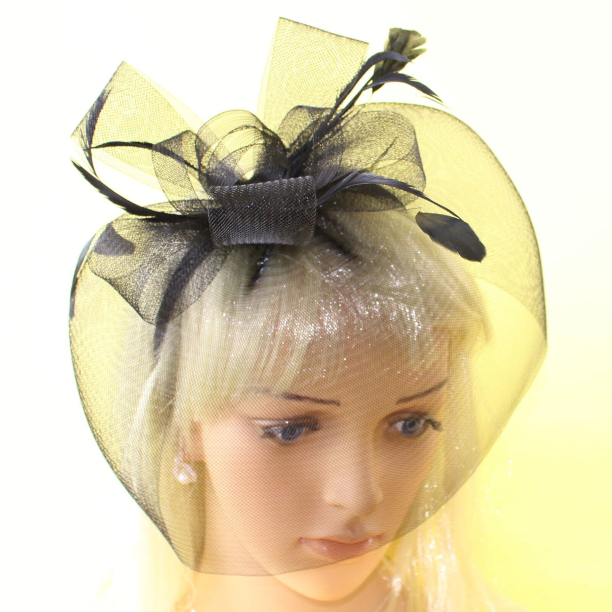 Black veiled sinamay fascinator with bows and feathers on aliceband
